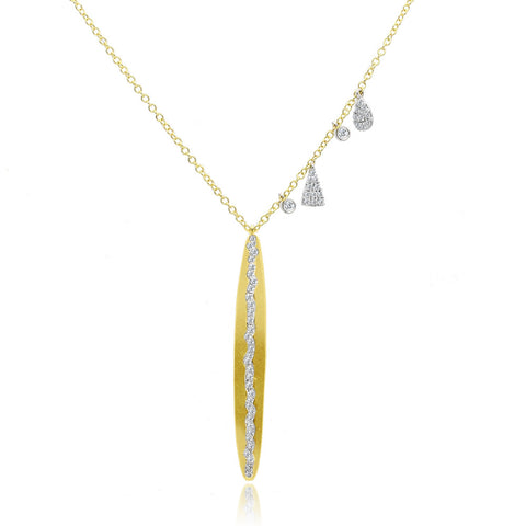 Textured Gold and Diamonds Necklace