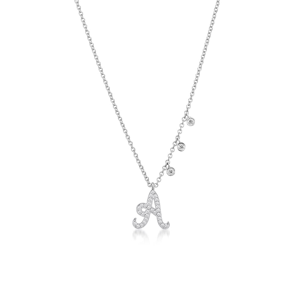 Diamond Initial Necklace with Diamond Charms