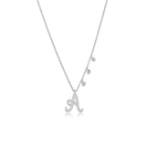 White Gold Initial Necklace with Off Centered Diamond Charms