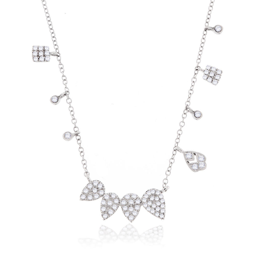 Diamond Pear Shaped Necklace with Off-Centered Pave Diamonds