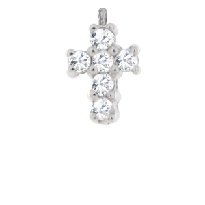 Pave White Gold Cross