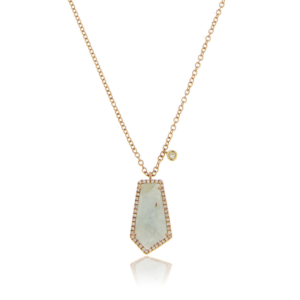 Milky Aqua Bezel Necklace