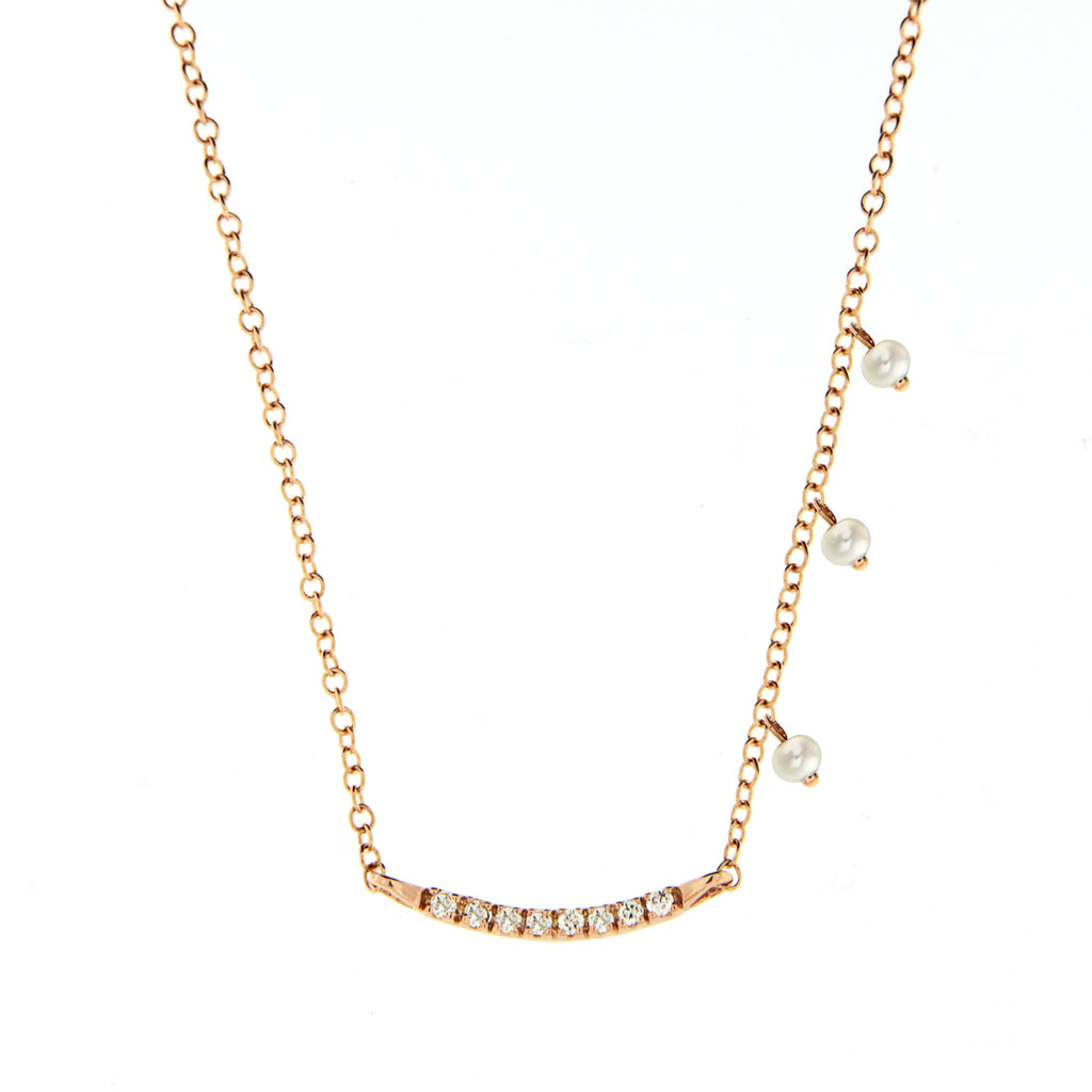 14k Mini Rose Gold Bar, Diamond & Pearls