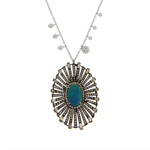 White Gold Diamond and Opal Necklace