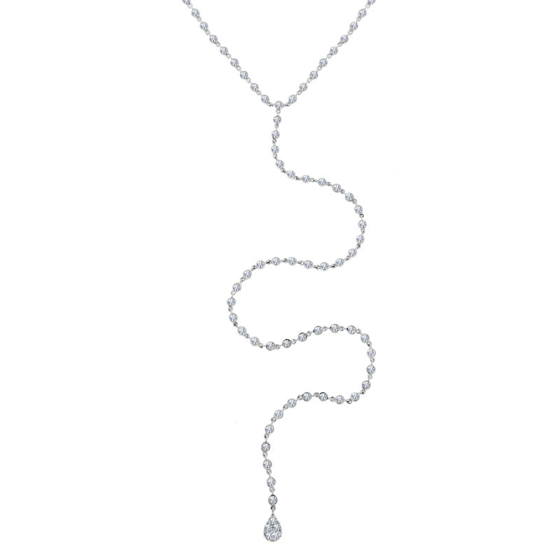 Meira T Diamond Bezel Chain Necklace With Pave Charm