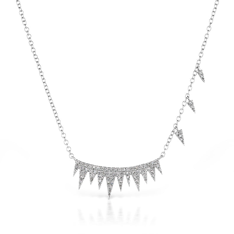 Pave Spike Diamond Necklace & Off-Centered Charms