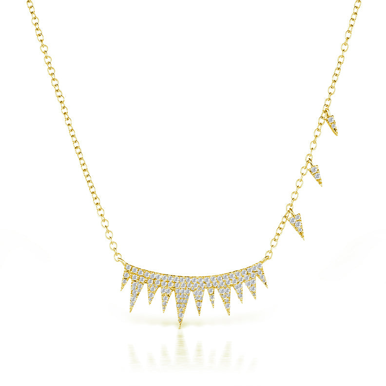 Yellow Pave Spike Diamond Necklace & Off-Centered Charms