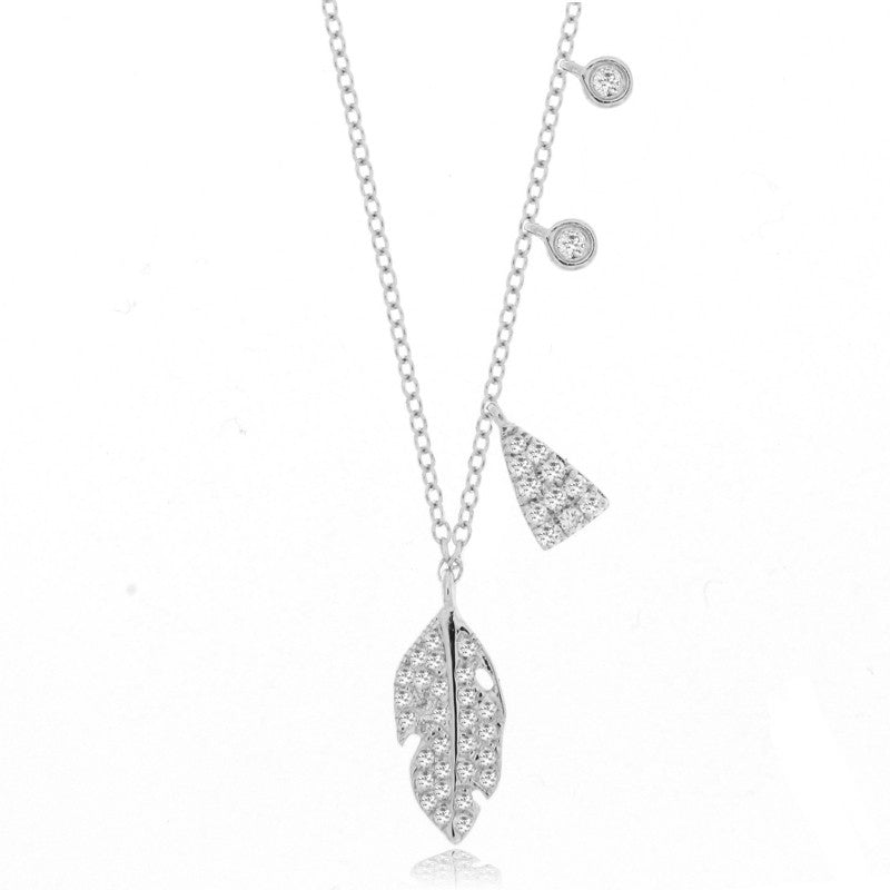Feather Charm Necklace White Gold