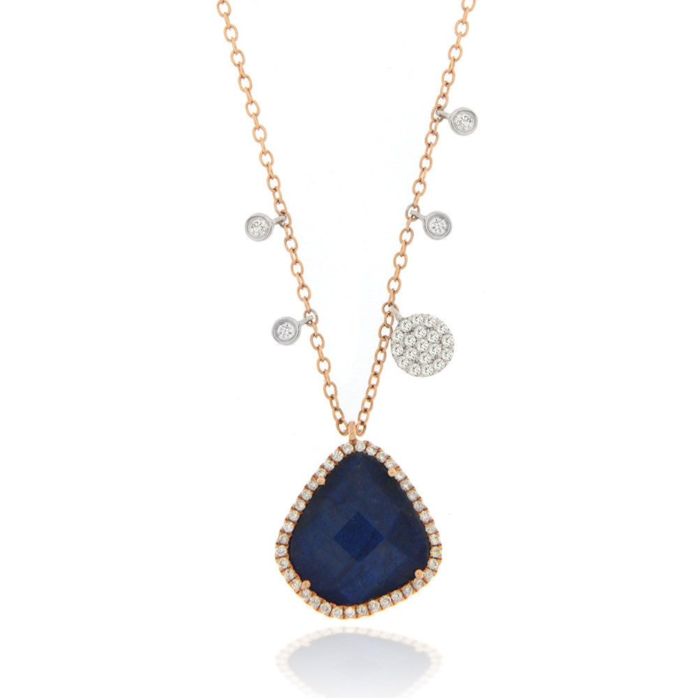 Blue Sapphire Necklace with diamond charms and bezels Rose Gold