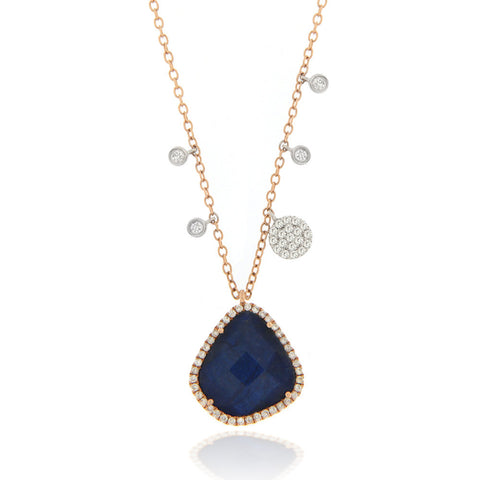 Blue Labradorite Necklace with diamond charms and bezels Rose Gold
