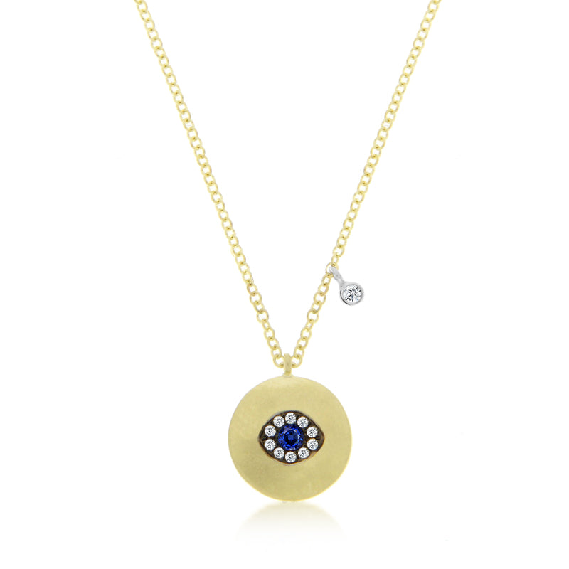 Gold, Diamond & Blue Sapphire Necklace