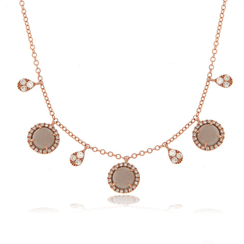 14k Rose Gold Necklace with Gray Moonstone Diamond Borders And Pave Charms