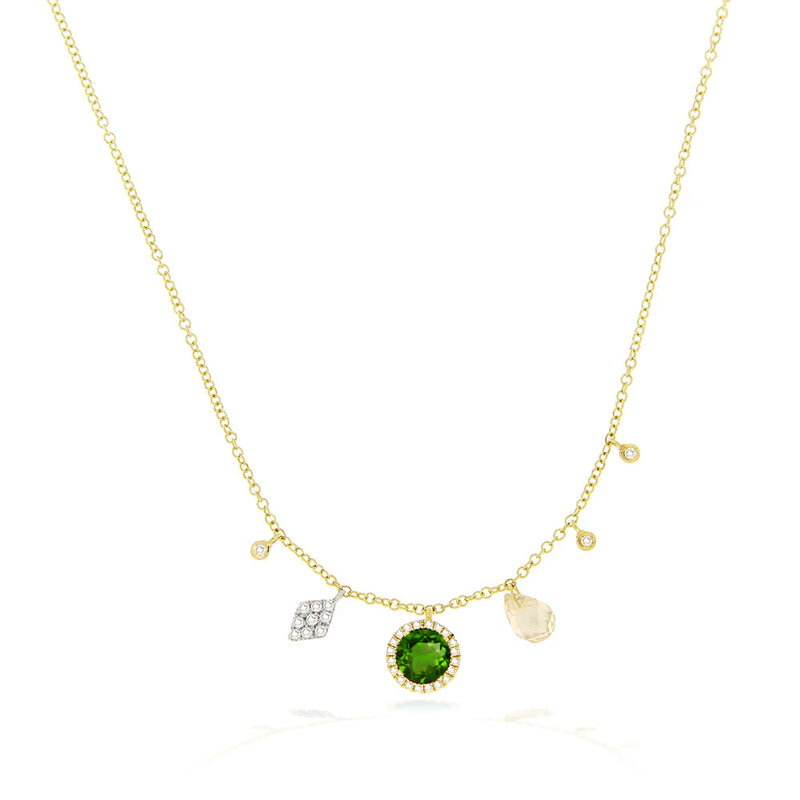 Meira T Yellow Gold Green Chrome Charm Necklace