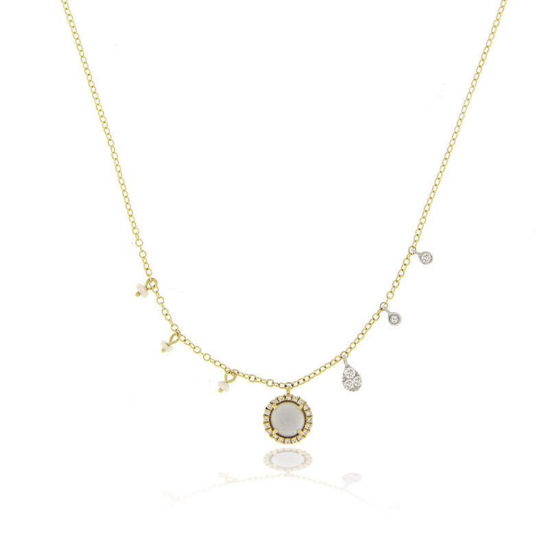 Grey Moonstone Yellow Gold Diamond Charm Necklace