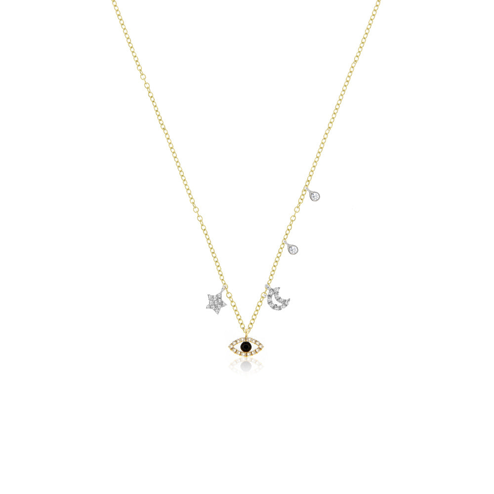 Dainty Moon Star and Eye Charm Necklace