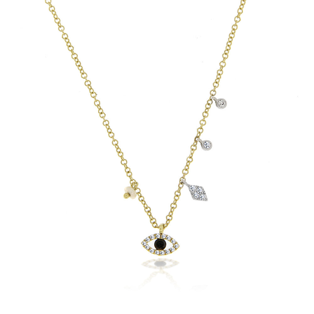Yellow gold evil eye charm necklace aloadofball Images
