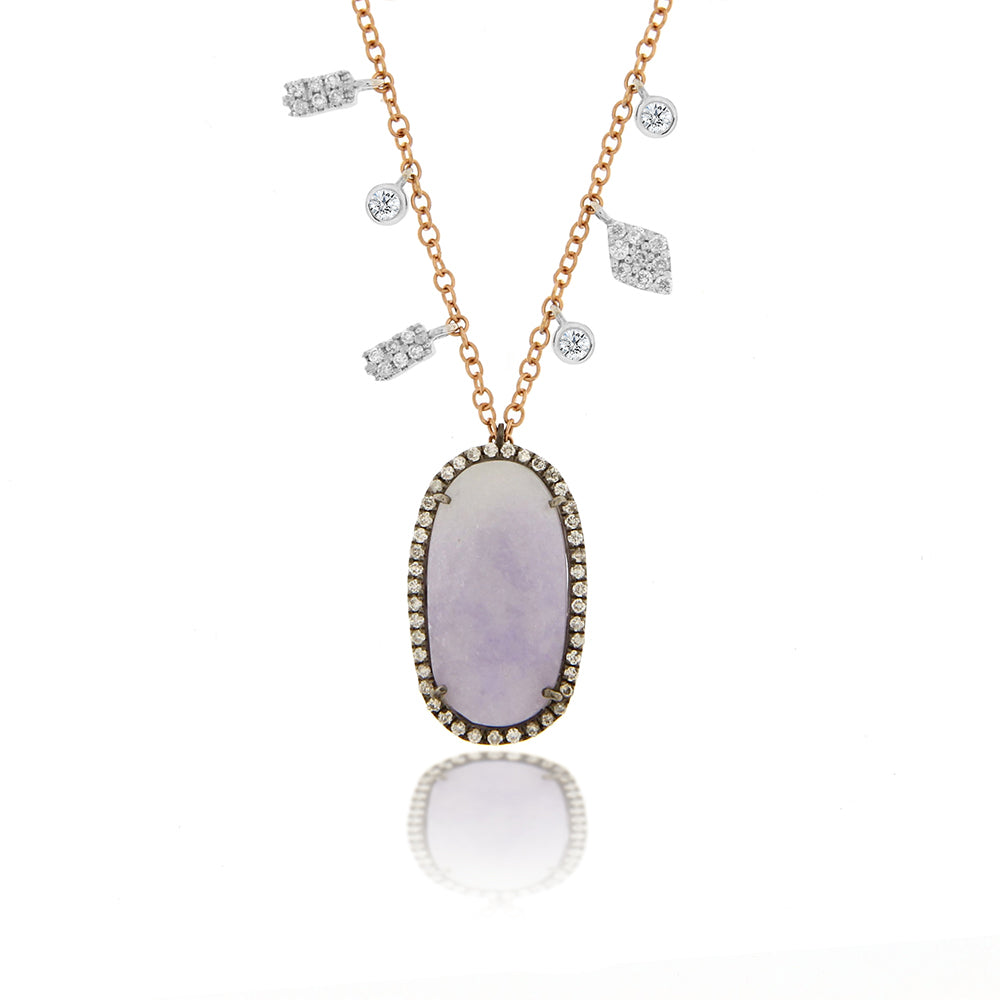 Purple Jade and Rose Gold Necklace