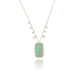 Amazonite Bezel Diamond Halo Necklace