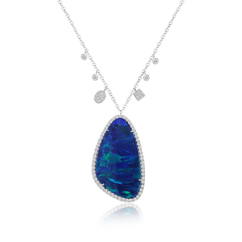 Australian Opal White Gold Necklace