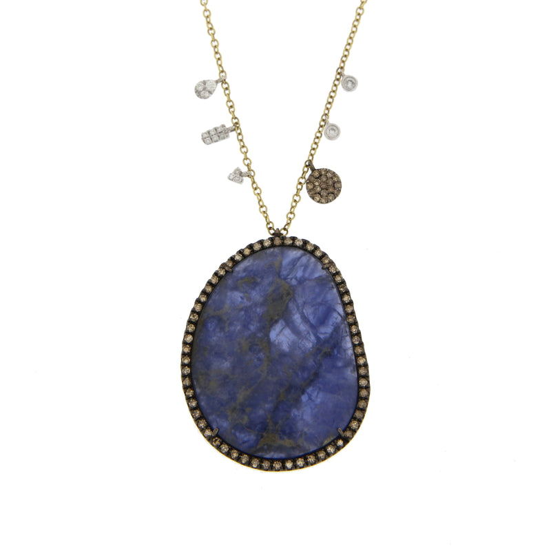 Lapis Doublet Necklace in Yellow Gold with Diamonds and Brown Diamonds