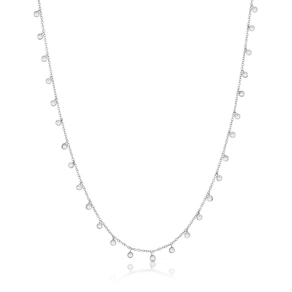 14k White Gold Necklace with Diamond Bezels