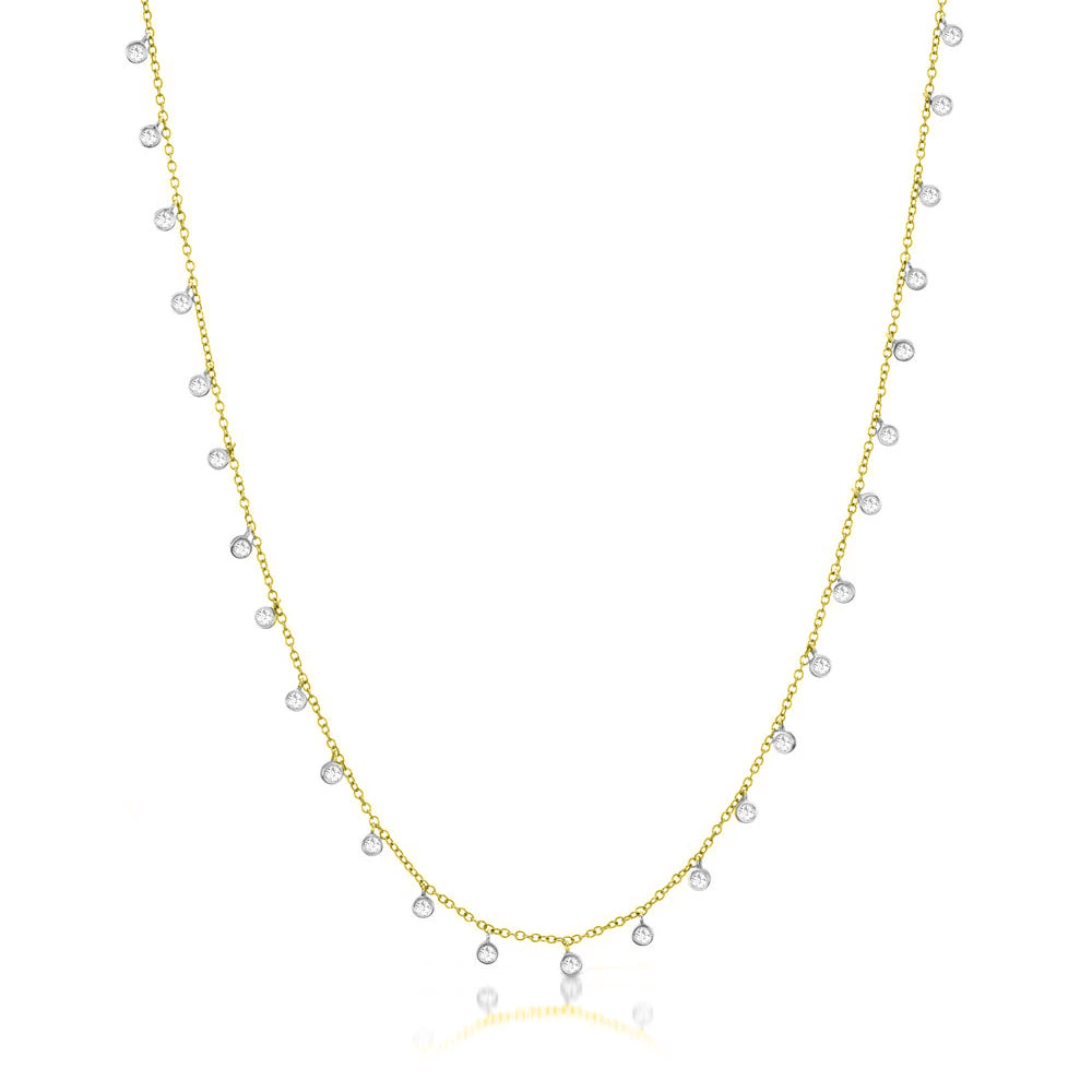 14k Yellow Gold Necklace with Diamond Bezels