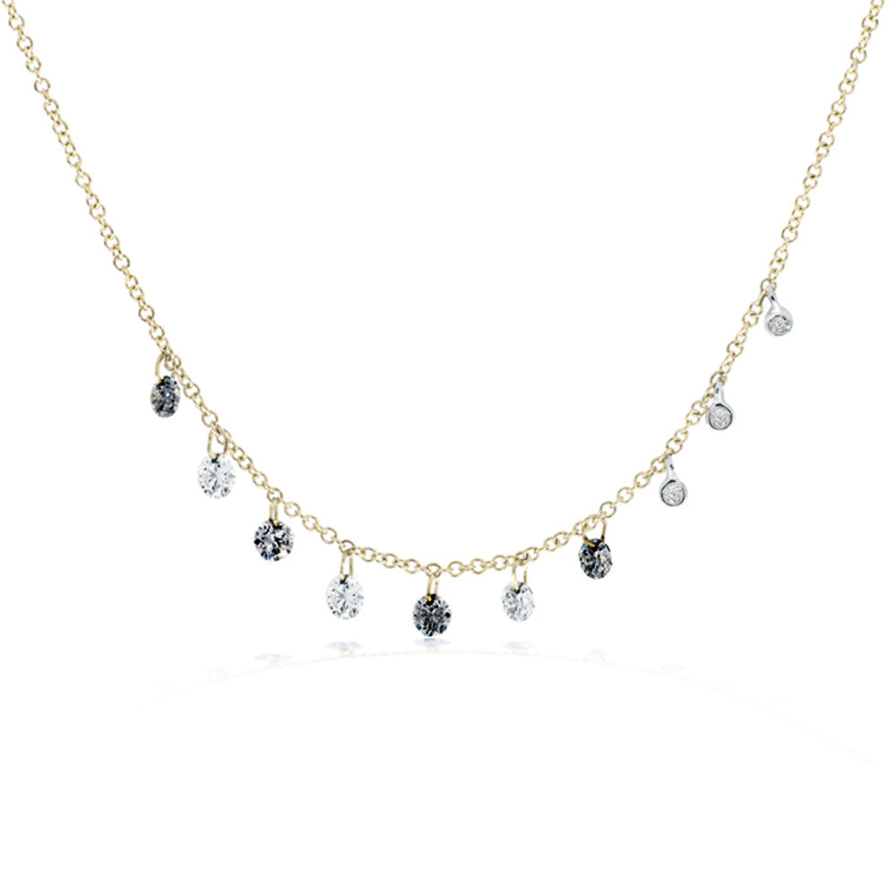 This rose gold drilled diamond necklace is carefully crafted