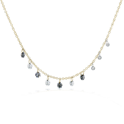 Meira T Yellow Gold Drilled Black and White Diamond Necklace