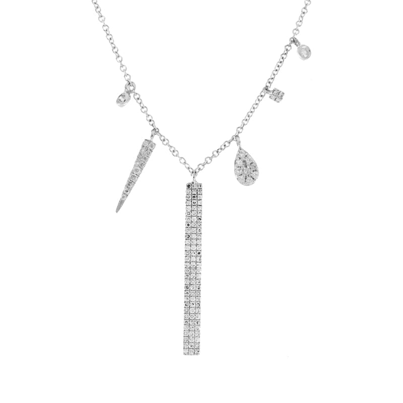 Beautiful Diamond Bar Charm Necklace