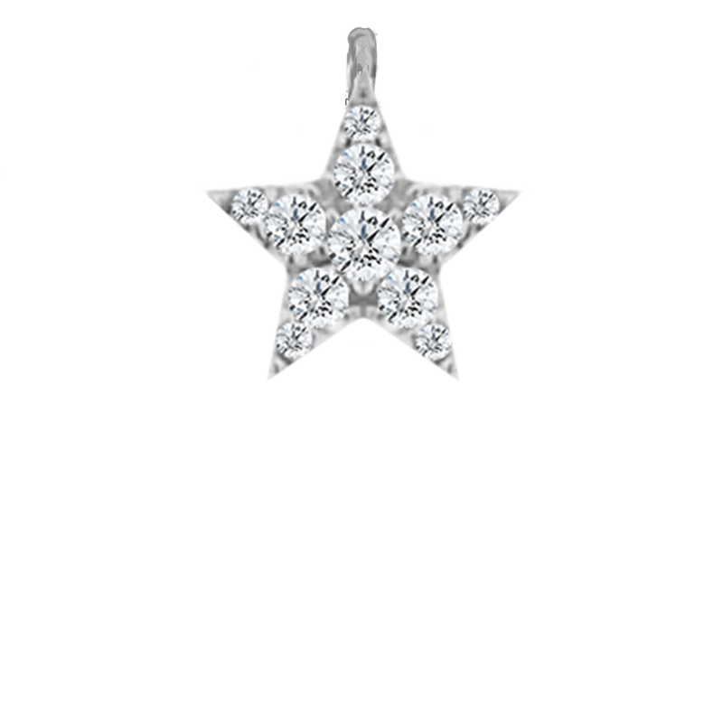 White Gold and Diamond Pave Star