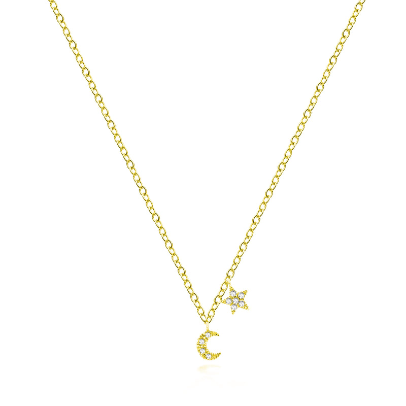 Yellow Gold Mini Moon and Star Necklace
