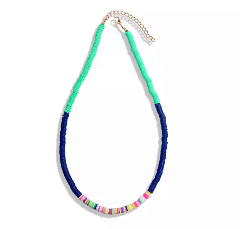 Blue and Green Resin Bead Layering Necklace