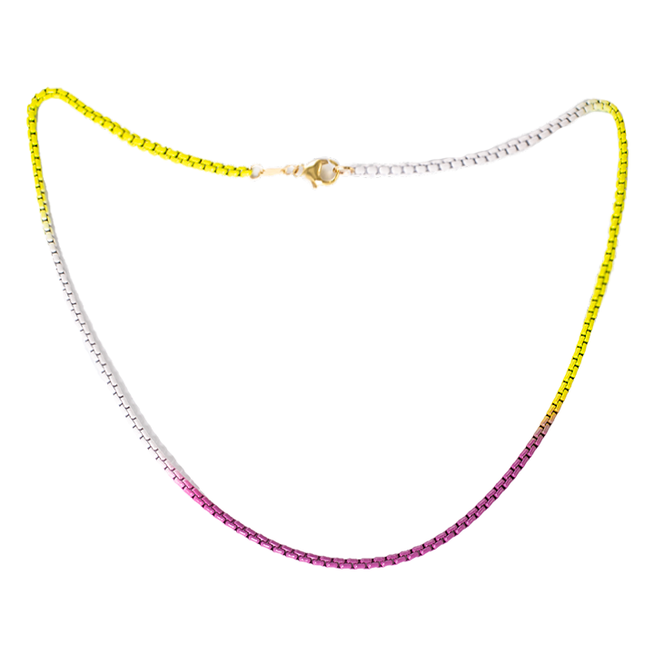 Purple Yellow and White Ombre Layering Chain