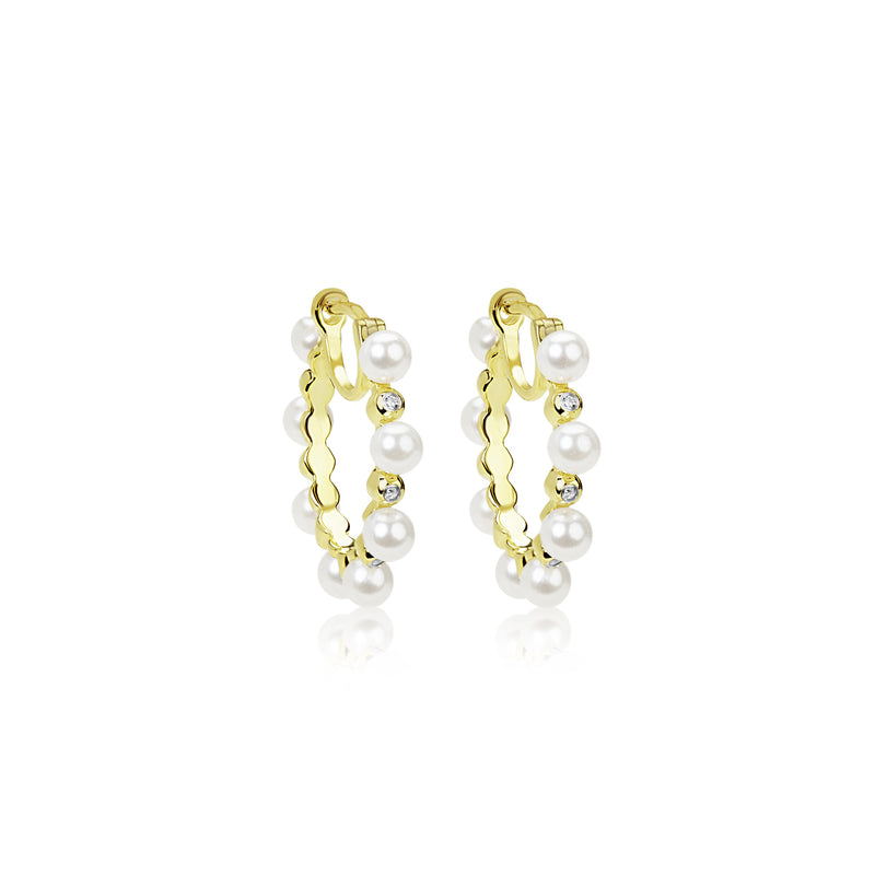 Yellow Gold Plated Alternating Pearl and CZ  Hoop Earrings