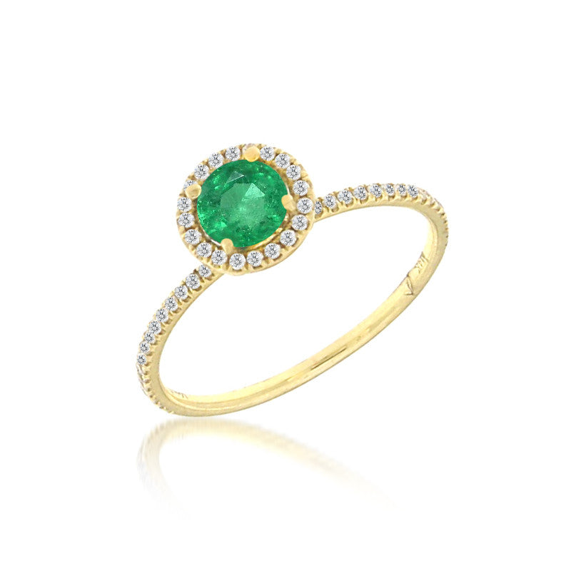 14k Yellow Gold Emerald Ring with Diamonds