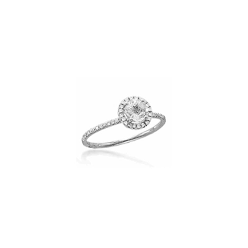 14k White Gold White Topaz Ring with Diamonds