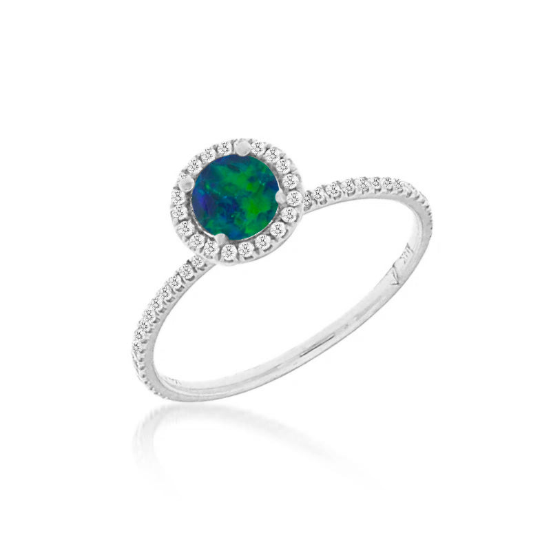White Gold Opal Ring with Diamonds