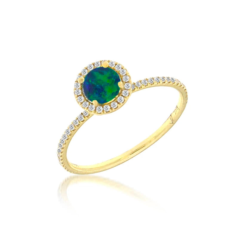 Yellow Gold Opal Ring with Diamonds