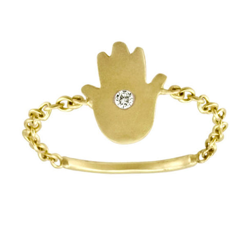 Yellow Gold Hamsa Chain Ring