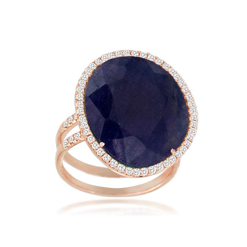 Rose Gold Blue Sapphire and Diamond Cocktail Ring