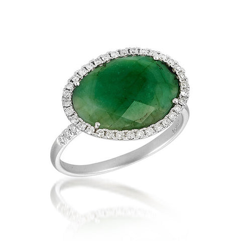 White Gold Rough Emerald and Diamond Ring