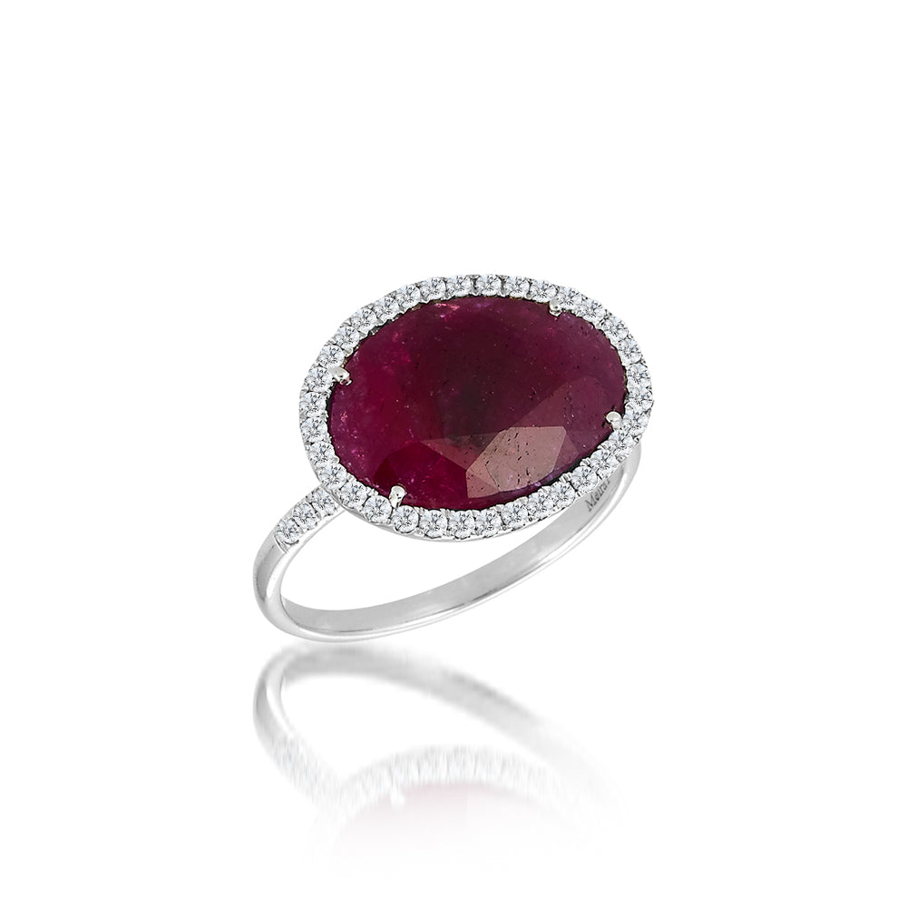 white gold ruby ring with diamonds
