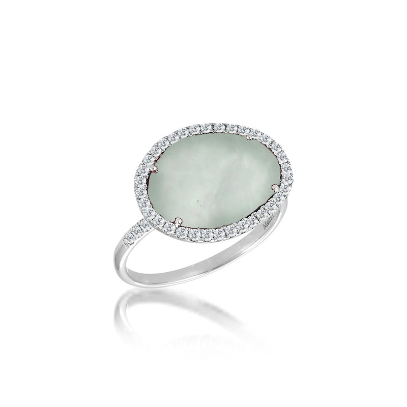White Gold Milky Aqua and Diamond Ring
