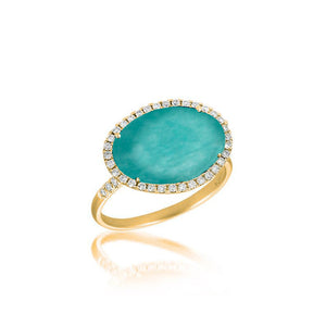 Yellow Gold Aamazonite and Diamond Ring