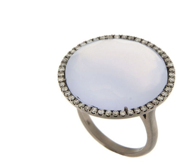 Chalcedony Silver Diamond Ring