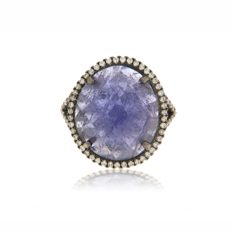 Tanzanite Diamond Halo Cocktail Ring