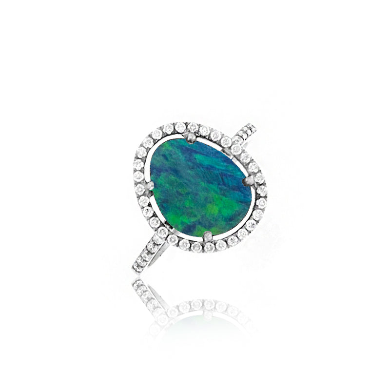 Opal Diamond Border and Band Ring
