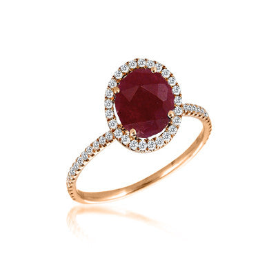 Ruby and Rose Gold Cocktail Ring with Diamond Halo