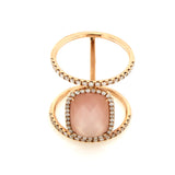 Diamond & Rose Quartz Double Rose Gold Ring