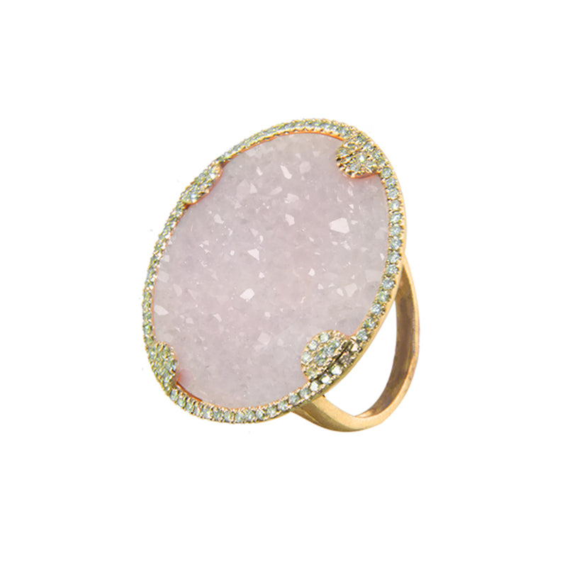Druzy and Diamond Cocktail Ring Last One